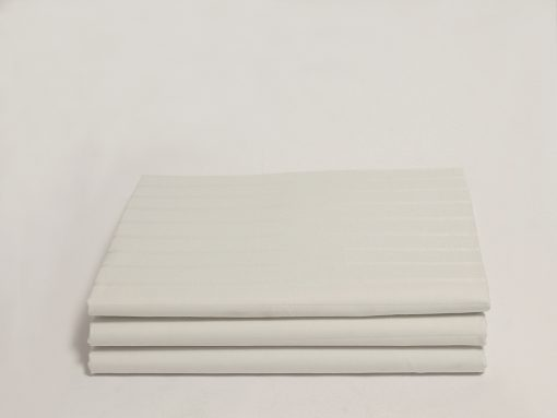Stripe Sateen White Organic Fitted Sheet