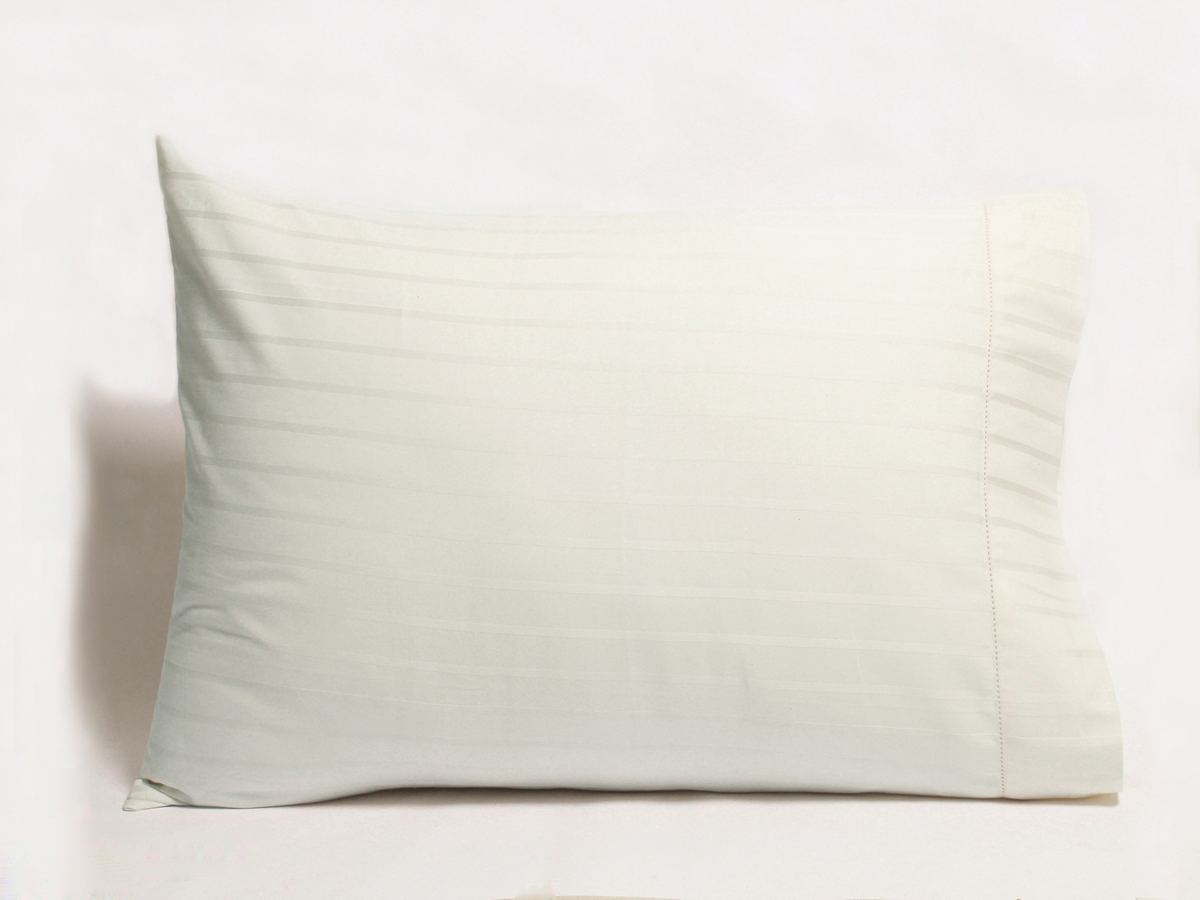 Stripe Sateen White Organic Pillow Cases