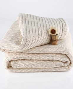 Striped Chenille Herring Bone Organic Blanket