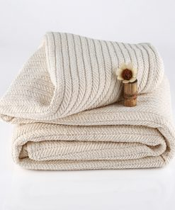 Striped Chenille Herringbone Organic Throw
